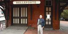 Daniel Clemson, standing in front of the Bellefonte Train Station/Chamber