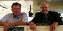 Photo Credit: Chuck Kennedy/McClatchy. Joe Galloway and General Hal Moore at McClatchy Newspapers Washington, D.C. Bureau, 2008.